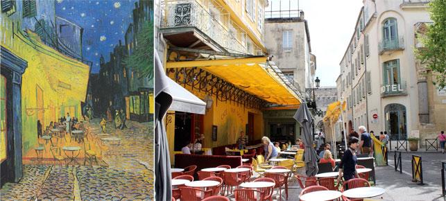 From left: Vincent van Gogh. Terrace of a Café at Night (Place du Forum). c. September 1888. Oil on canvas, 80.7 x 65.3 cm. Kröller-Müller Museum; Café Nuit, Arles. Photo by Alex Roediger