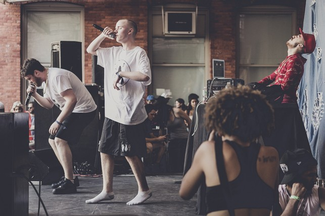 Corbin and Bobby Raps, MoMA PS1 Warm Up, Saturday, July 11, 2015. Photo: Charles Roussel