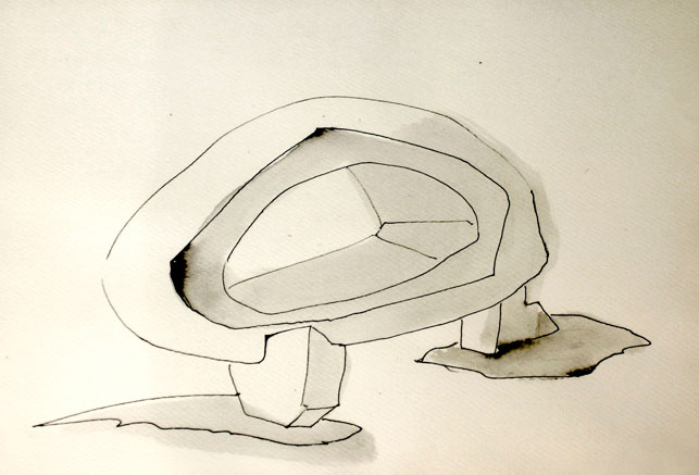 Frederick Kiesler. Endless House. 1947–60. Preliminary perspective, 1947. Ink on paper, 11 7/8 × 18