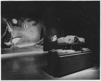 Installation view of Visionary Architecture, The Museum of Modern Art, September 29–December 4, 1960. The 1959 Endless House model is shown at right. Photograph by George Barrows. Photographic Archive. The Museum of Modern Art Archives, New York