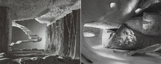 """Interior views of the Endless House model Frederick Kiesler built in 1959 for Visionary Architecture, The Museum of Modern Art, New York, September 29–December 4, 1960. Gelatin silver print, 8 x 10"""" (25.4 x 20.3 cm). Photographs by George Barrows. Department of Architecture and Design Study Center"""
