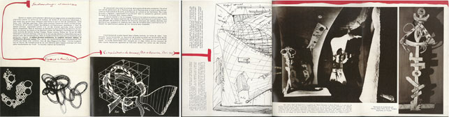 Pages showing diagram and installation view of Salle de Superstition from Frederick Kiesler's Manifeste du Corréalisme, first published in L'Architecture d'Aujourd'hui, 2nd Special Edition, 1949