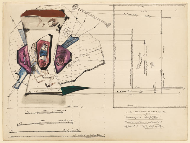 """Frederick Kiesler. Architectural Plan for the Room of Superstitions (Salle de Superstition). 1947. Gouache and ink on paper, 14 3/4 x 19 3/4"""" (37.6 x 50.4 cm). The Museum of Modern Art, New York. Kay Sage Tanguy Bequest"""