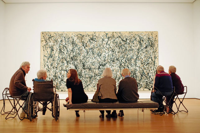 A Meet Me at MoMA program for individuals with Alzheimer's or dementia and their family members or care partners at The Museum of Modern Art. © The Museum of Modern Art. Photo by Jason Brownrigg