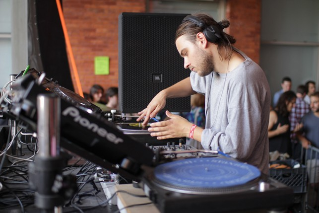 Hashman Deejay, MoMA PS1 Warm Up, Saturday, August 22, 2015. Photo: Mark Cole