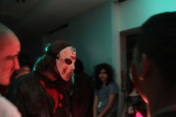 A costume contest gets a visit from guest-judge Jason Voorhees. Photo: Kaitlyn Stubbs