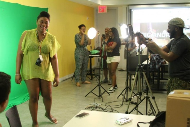 Loosening up with green screen photography in Sight + Sound Lab. Photo by Kaitlyn Stubbs.