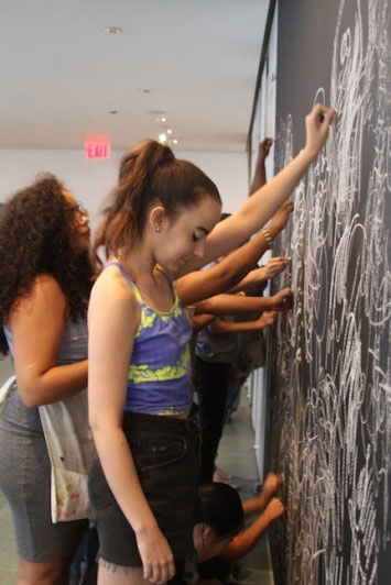 Automatic drawing in the Surreal World exhibition space. Photo by Kaitlyn Stubbs