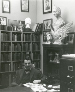 Photograph Paul Magriel, Librarian of the Dance Archives, in the Archives offices, n.d. [William S. Lieberman Papers, IV.2]