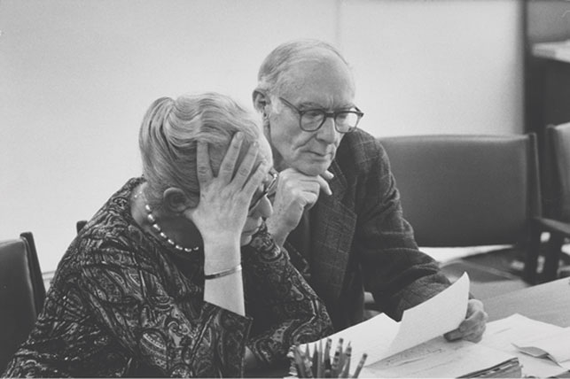 Margaret Scolari Barr with Alfred H. Barr, Jr., January 7, 1971. Photograph by Gjon Mili.  Margaret Scolari Barr Papers, V.9*. The Museum of Modern Art Archives
