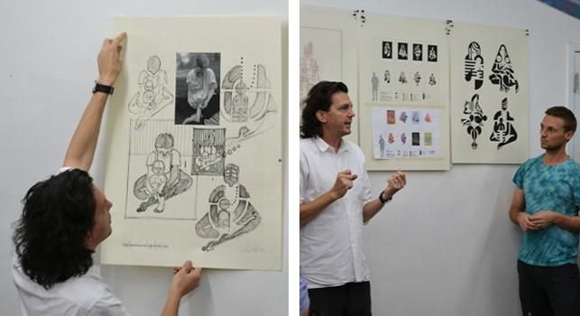 Left: McGinness shows his drawings for the series Mother and Child; right: McGinness and  Hougentalk about the printing process