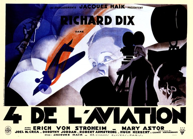 French four-panel poster for  The Lost Squadron, directed by George Archainbaud, 1932. Poster design by René Péron. Courtesy Sikelia Productions