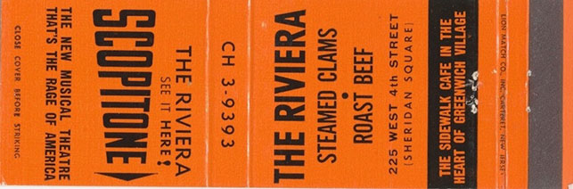 Matchbook advertising the Scopitone at the Riviera in Greenwich Village. Image courtesy ScopitoneArchive.com