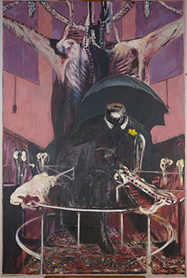 "Pre-treatment image of Francis Bacon's Painting. 1946. Oil and pastel on linen, 6' 5 7/8"" x 52"" (197.8 x 132.1 cm). Purchase. © 2015 Estate of Francis Bacon/Artists Rights Society (ARS), New York/DACS, London. Photo: The Museum of Modern Art, Department of Conservation"