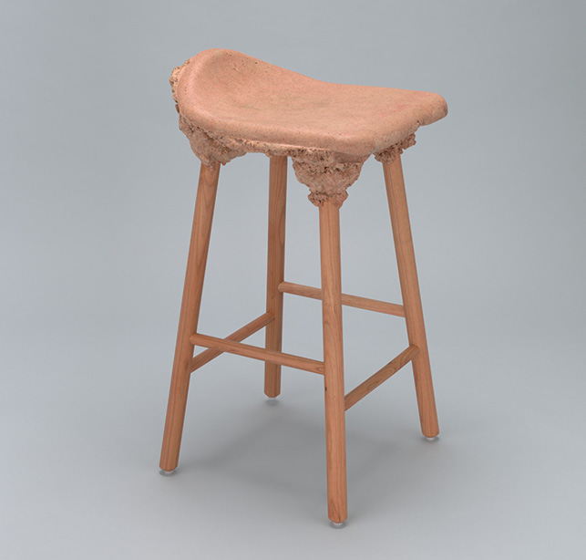 Marjan van Aubel & James Shaw. Well Proven Stool. 2014. Bioresin and cherry wood, 25 3/16 x 15 3/4 x 13 3/4″ (64 x 40 x 35 cm). The Museum of Modern Art, New York. Committee on Architecture and Design Funds. Photographer: Jonathan Muzikar