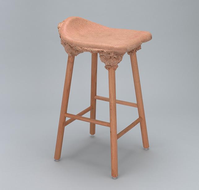 Marjan van Aubel & James Shaw. Well Proven Stool. 2014. Bioresin and cherry wood, 25 3/16 x 15 3/4 x 13 3/4″ (64 x 40 x 35 cm). The Museum of Modern Art, New York. Committee on Architecture and Design Funds. Photographer: Jonathan Muzikar