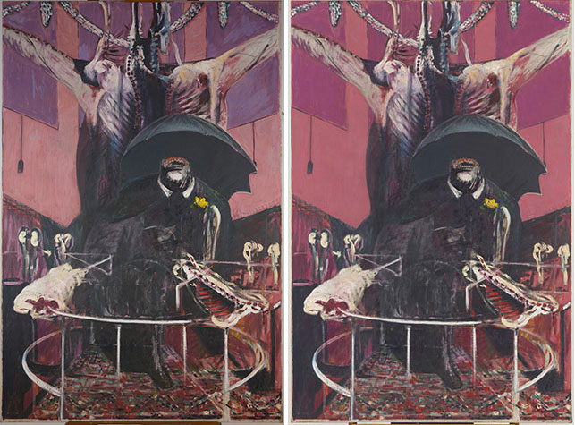 "Francis Bacon. Painting. 1946. Oil and pastel on linen, 6' 5 7/8"" x 52"" (197.8 x 132.1 cm). Purchase. © 2015 Estate of Francis Bacon/Artists Rights Society (ARS), New York/DACS, London. From left: a photograph of the painting from May 2015; digital restoration of the painting's appearance prior to light-induced fading"