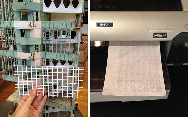 Left: Laser-cut window mullions, before toning; Right: Printing exterior designs onto mulberry paper