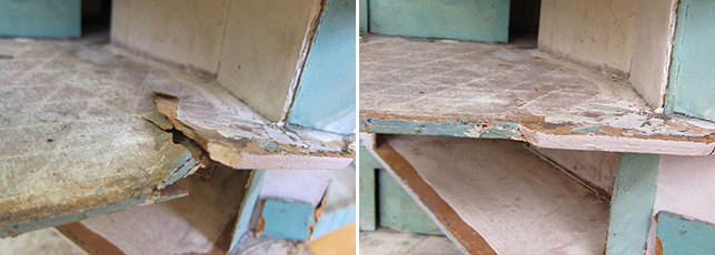 Left: Damaged paperboard floor; Right: After humidification/reshaping treatment