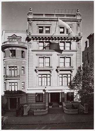 """In May 1932 The Museum, which had outgrown its modest quarters on Fifth Avenue, opened its new home at 11 West 53rd Street, in a six-story house owned by John D. Rockefeller, Jr. It contained four floors of galleries. The Museum remained there until 1937, when the site was cleared for the present building."" Facade of The Museum of Modern Art, New York. 1937. Photographic Archive, The Museum of Modern Art Archives, New York"
