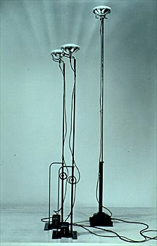 Moma interactives exhibitions 1997 achille castiglioni toio floor lamp 1962 achille and pier giacomo castiglioni car reflector lamp steel 67 x 8 58 x 8 58 manufactured and lent by flos aloadofball Images
