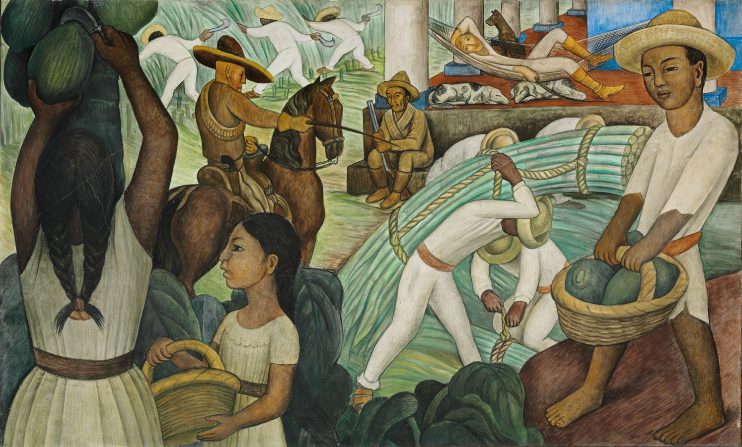 Sugar cane murals for the museum of modern art for Mural una familia chicana