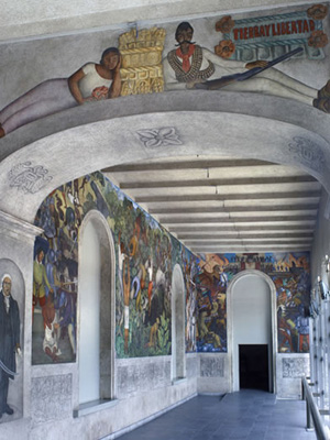 Chronology murals for the museum of modern art for Diego rivera la conquista mural