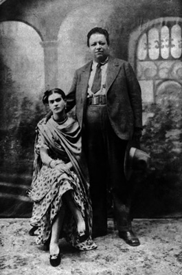 Rivera and Kahlo on wedding day