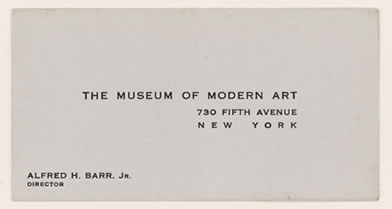 Alfred Barr's business card