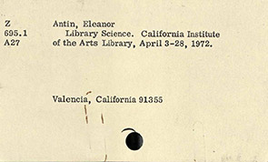 Moma interactives exhibitions please come to the show two invitations for the traveling exhibition library science by eleanor antin halifax nscasd valencia ca cal arts 1972 stopboris Image collections