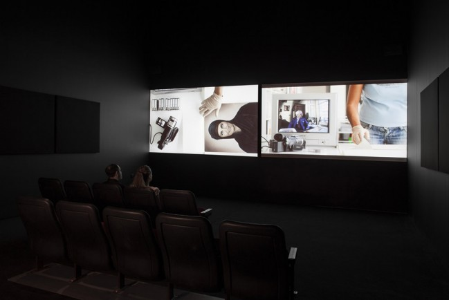 Akram Zaatari (Lebanese, born 1966). On Photography, People and Modern Times. 2010. Two-channel synchronized HD projection (color, sound), 38:43 min. Installation view of Projects 100: Akram Zaatari. 2013. Photo by John Wronn. © The Museum of Modern Art, New York