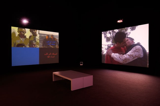 Akram Zaatari (Lebanese, born 1966). Dance to the End of Love. 2011. Four-channel video projection (color, sound), 22 min. Installation view MUSAC, Museo de Arte Contemporáneo de Castilla y León, Spain. Courtesy the artist and Sfeir-Semler Gallery, Beirut / Hamburg. © 2013 Akram Zaatari