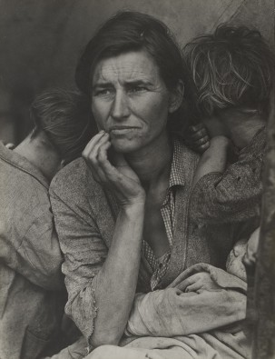 worried mother with her hungry children during the great depression