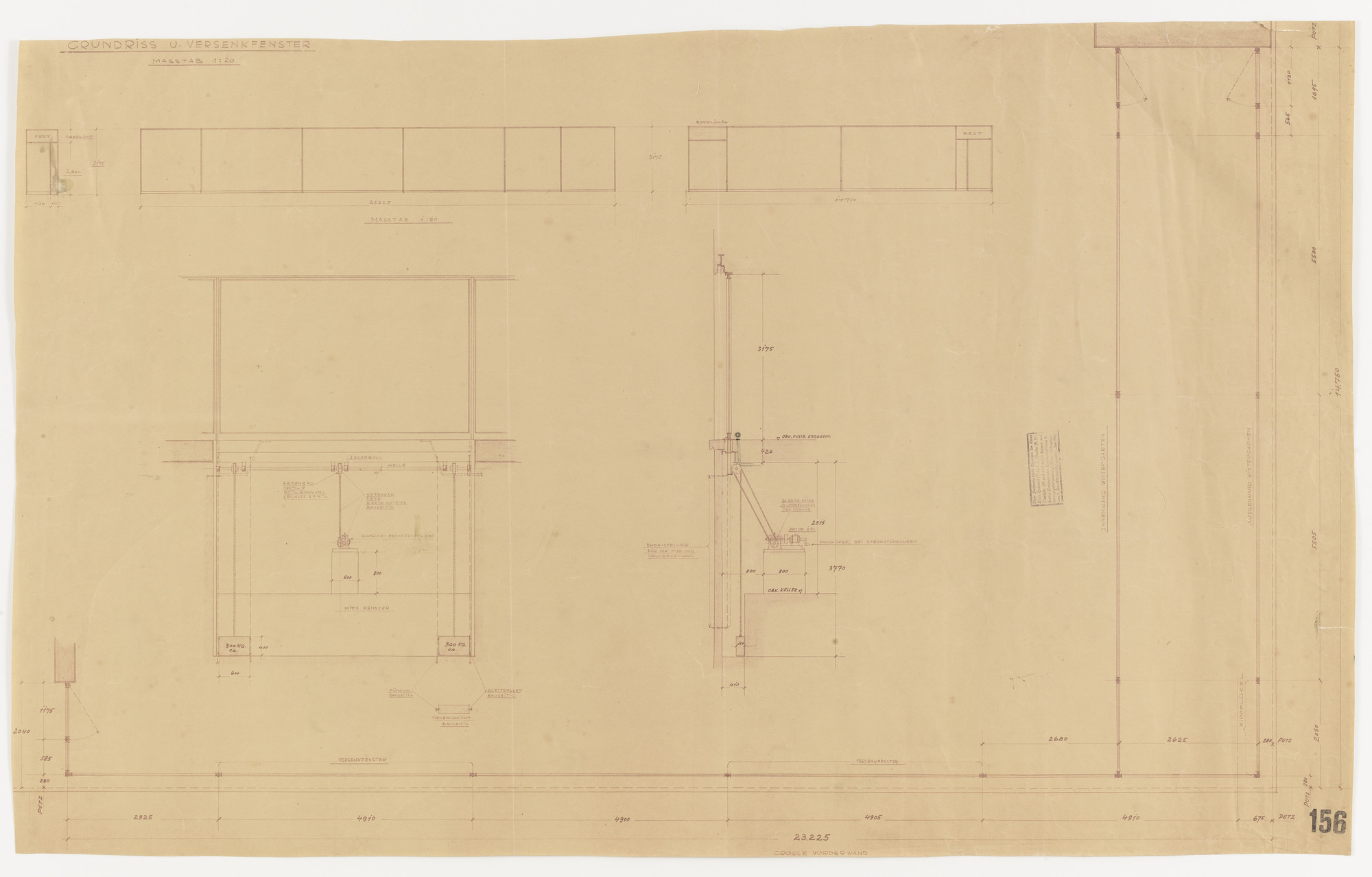 Ludwig Mies van der Rohe. Tugendhat House, Brno, Czech Republic, Plan, three elevations, section. 1928-1930