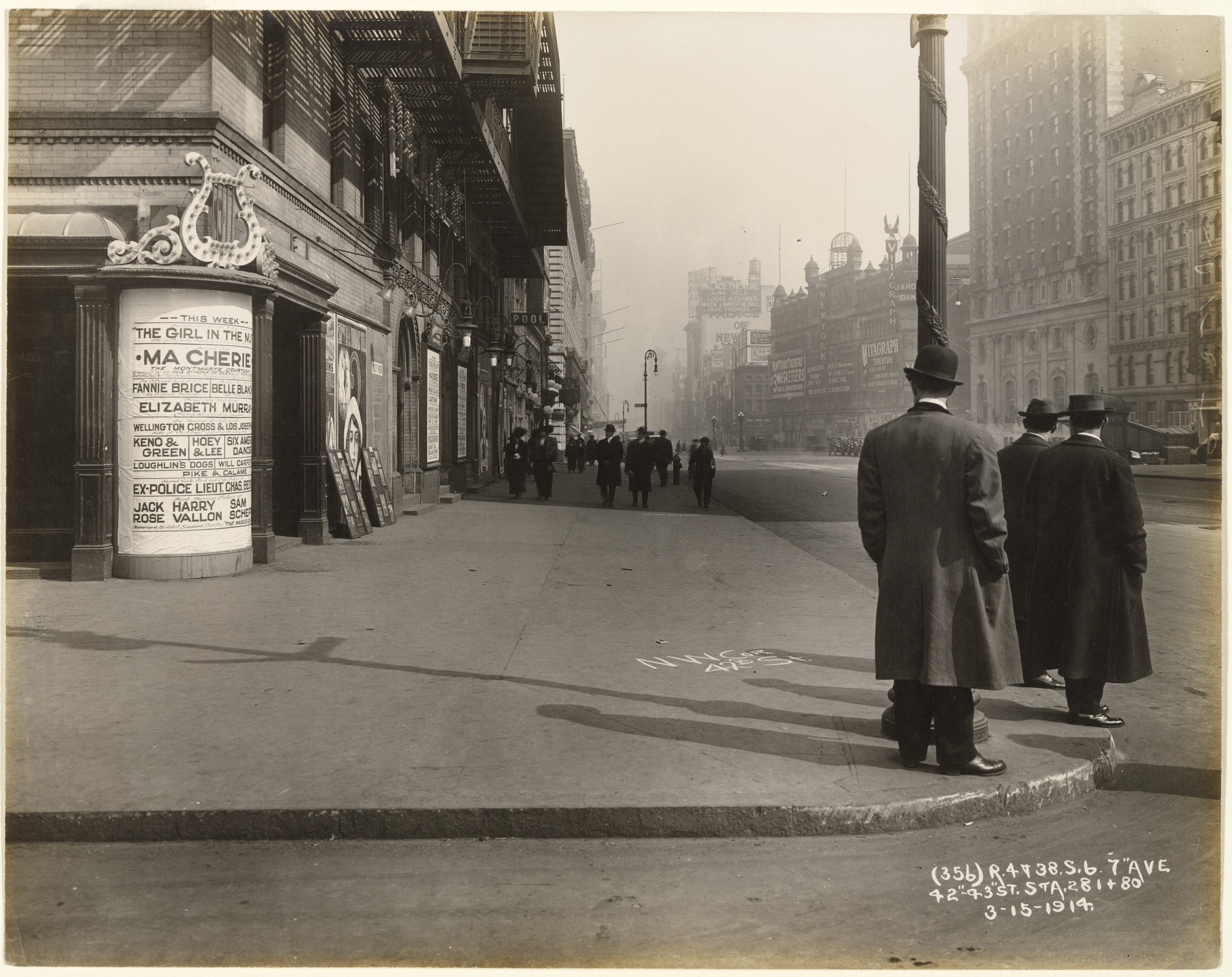 Unknown photographer. Seventh Avenue, 42nd and 43rd Streets, New York City. View, Facing North, Along West Side of Seventh Avenue, Showing Sidewalk Conditions. Time 10:27am.. March 15, 1914