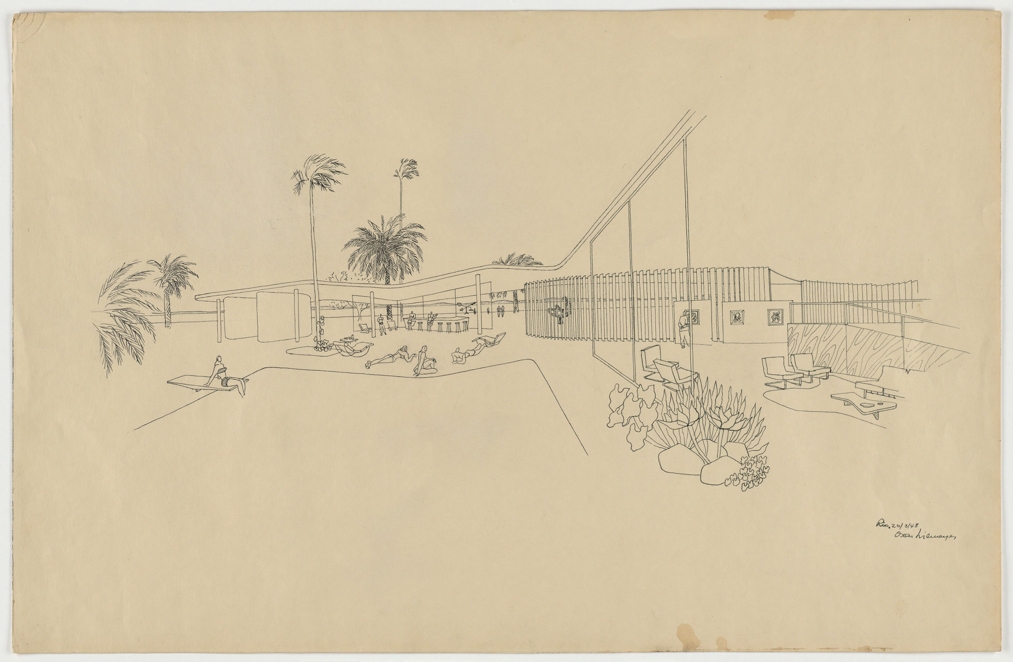 Oscar Niemeyer, Roberto Burle Marx. Beach House for Mr. and Mrs. Burton Tremaine, project, Santa Barbara, California (Exterior perspective, over pool with living room on right). 1948