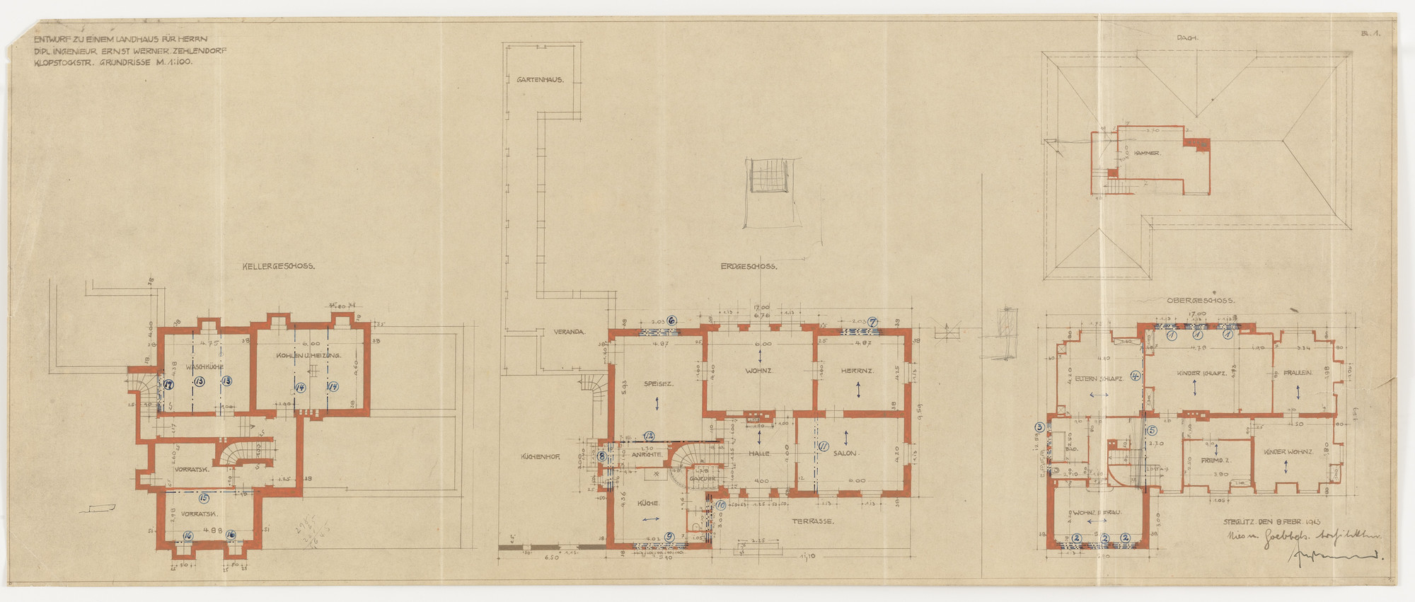 Ludwig Mies van der Rohe. Werner House, Berlin-Zehlendorf, Germany, Four plans. 1913
