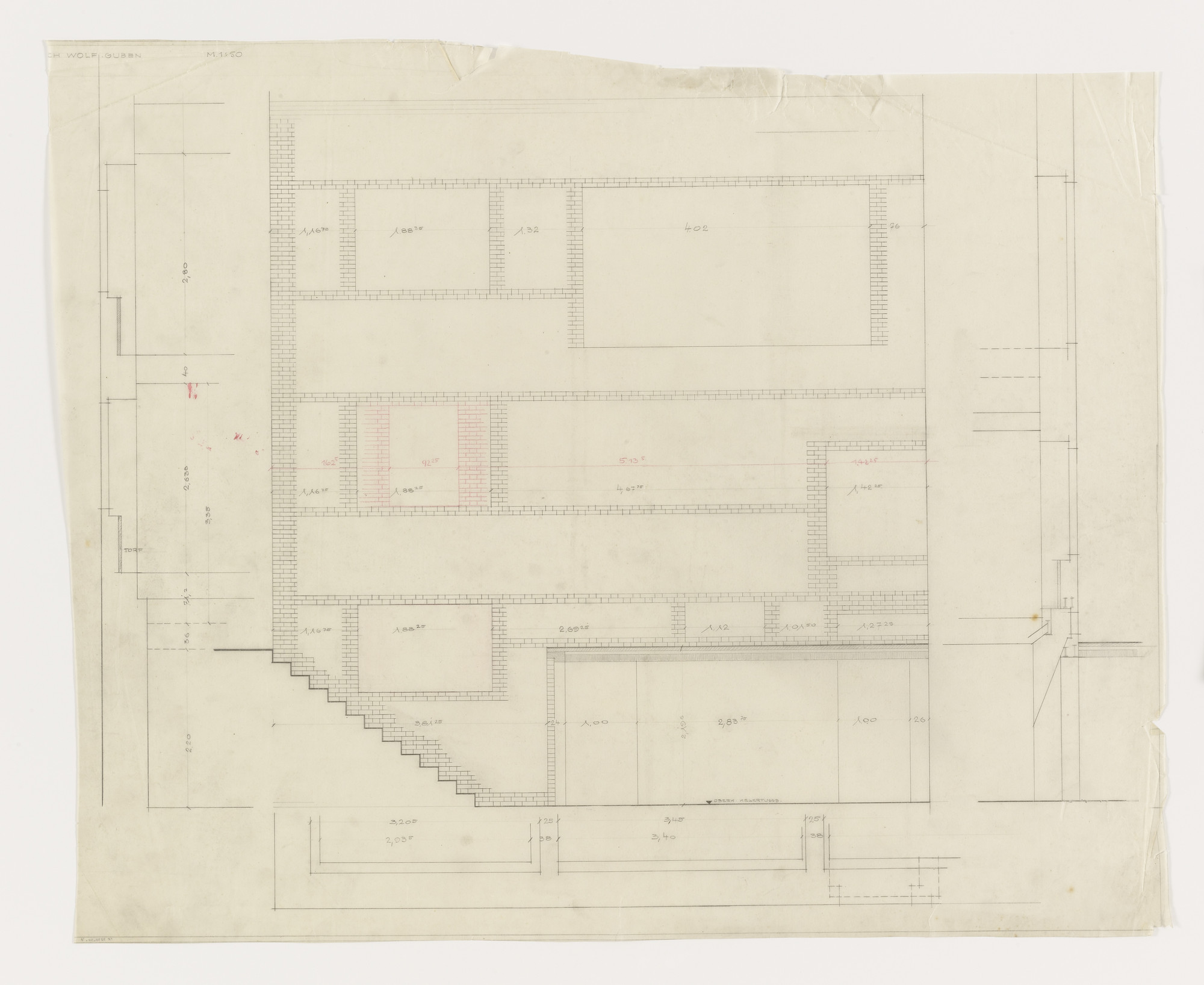 Ludwig Mies van der Rohe. Wolf House, Gubin, Poland (Elevation, plan, section). 1925–1927