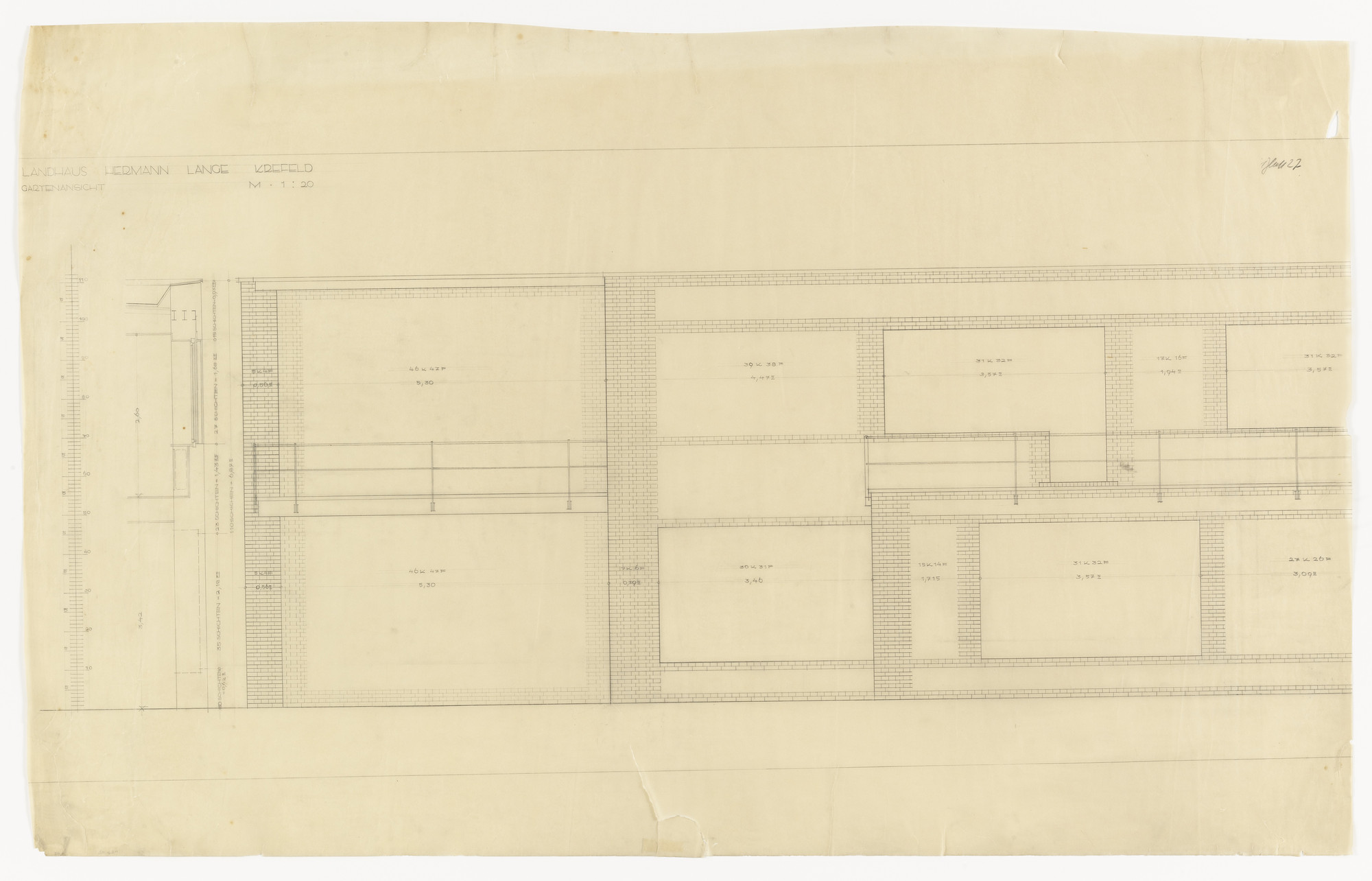 Ludwig Mies van der Rohe. Hermann Lange House, Krefeld, Germany, Elevation with window details. 1927-1930