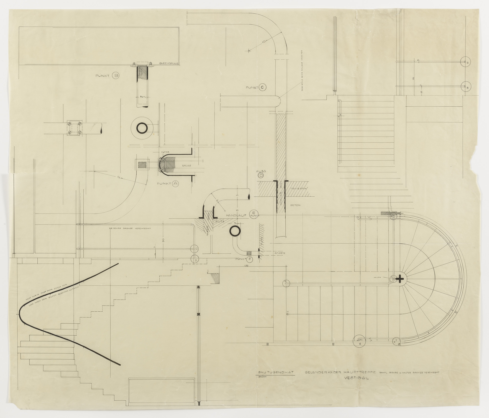 Ludwig Mies van der Rohe. Tugendhat House, Brno, Czech Republic, Plan, elevations, and sections. 1928-1930