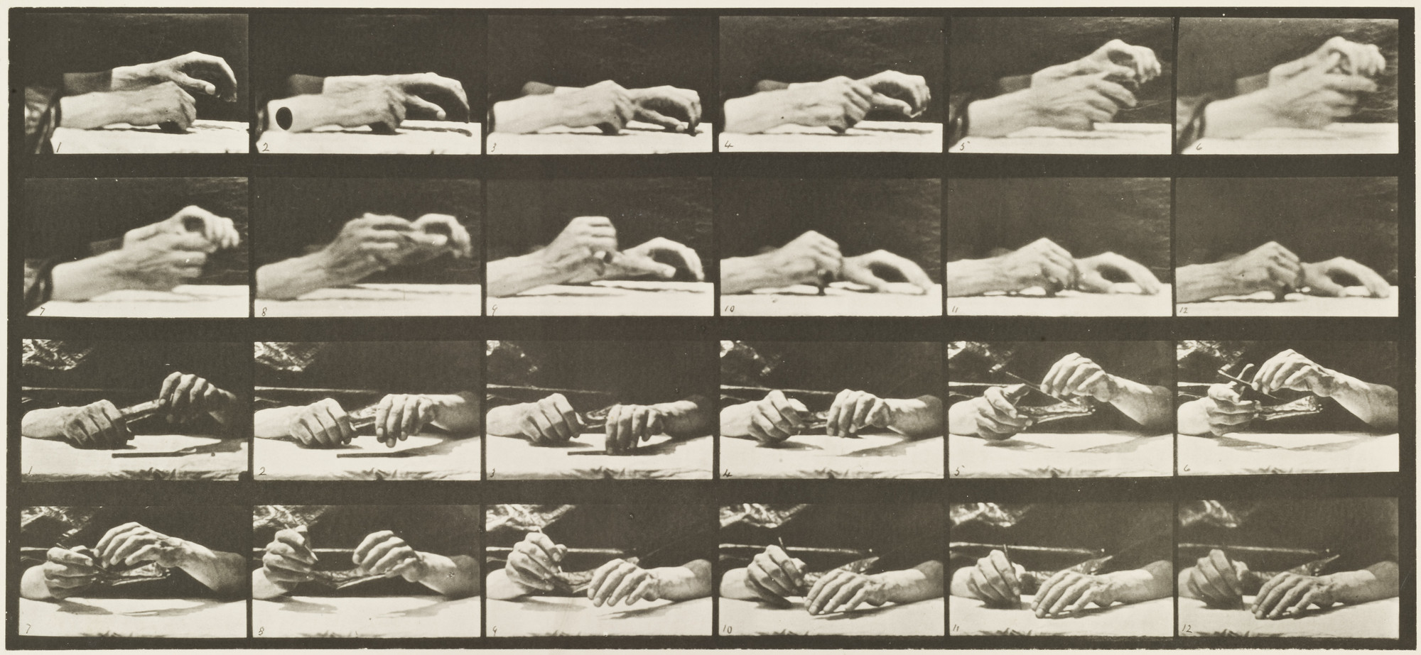 Eadweard J. Muybridge. Movement of the Hand, Hand Changing Pencil: Plate 536 from Animal Locomotion. 1884-86