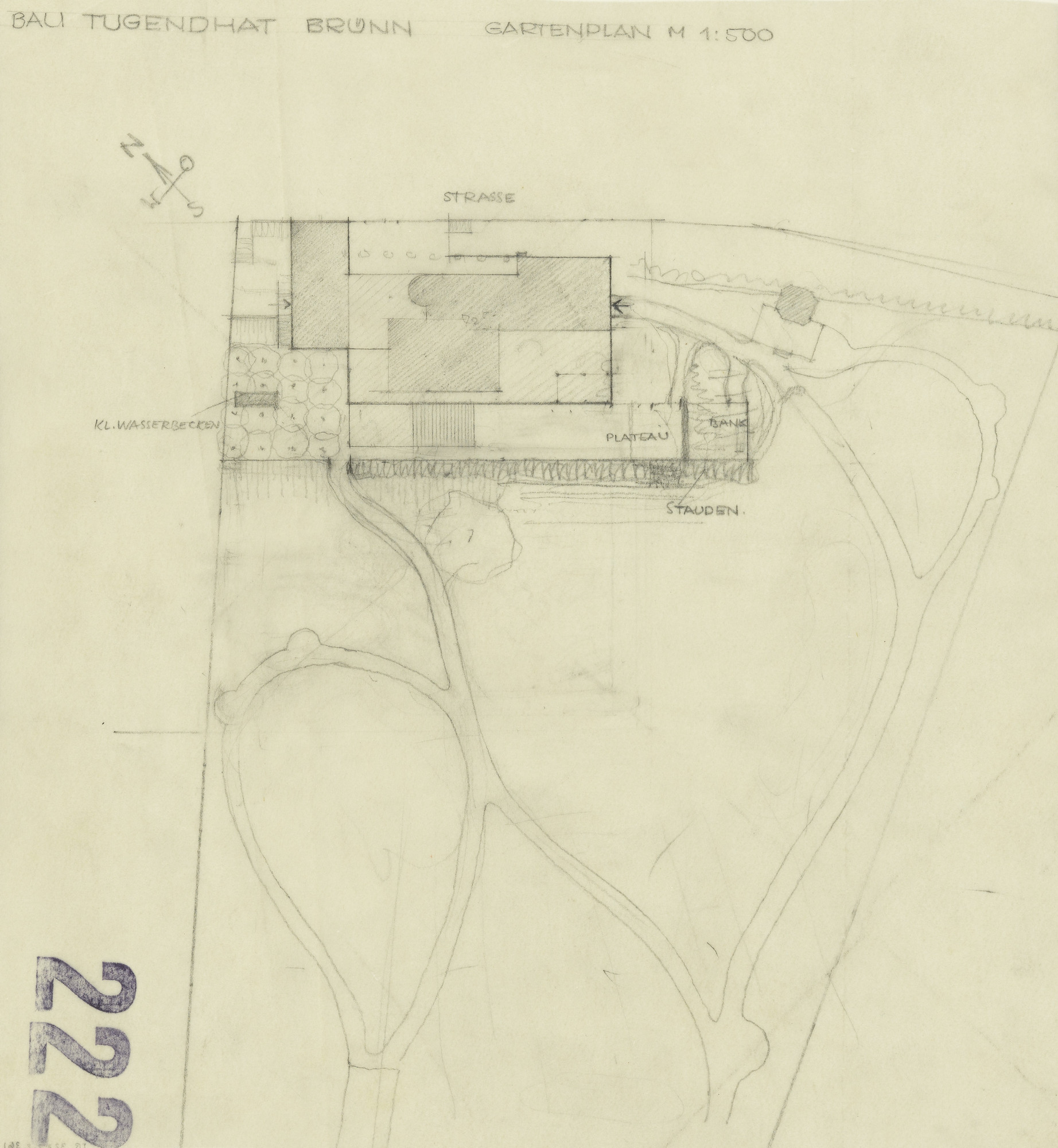 Ludwig Mies van der Rohe. Tugendhat House, Brno, Czech Republic, Plan of garden. 1928-1930