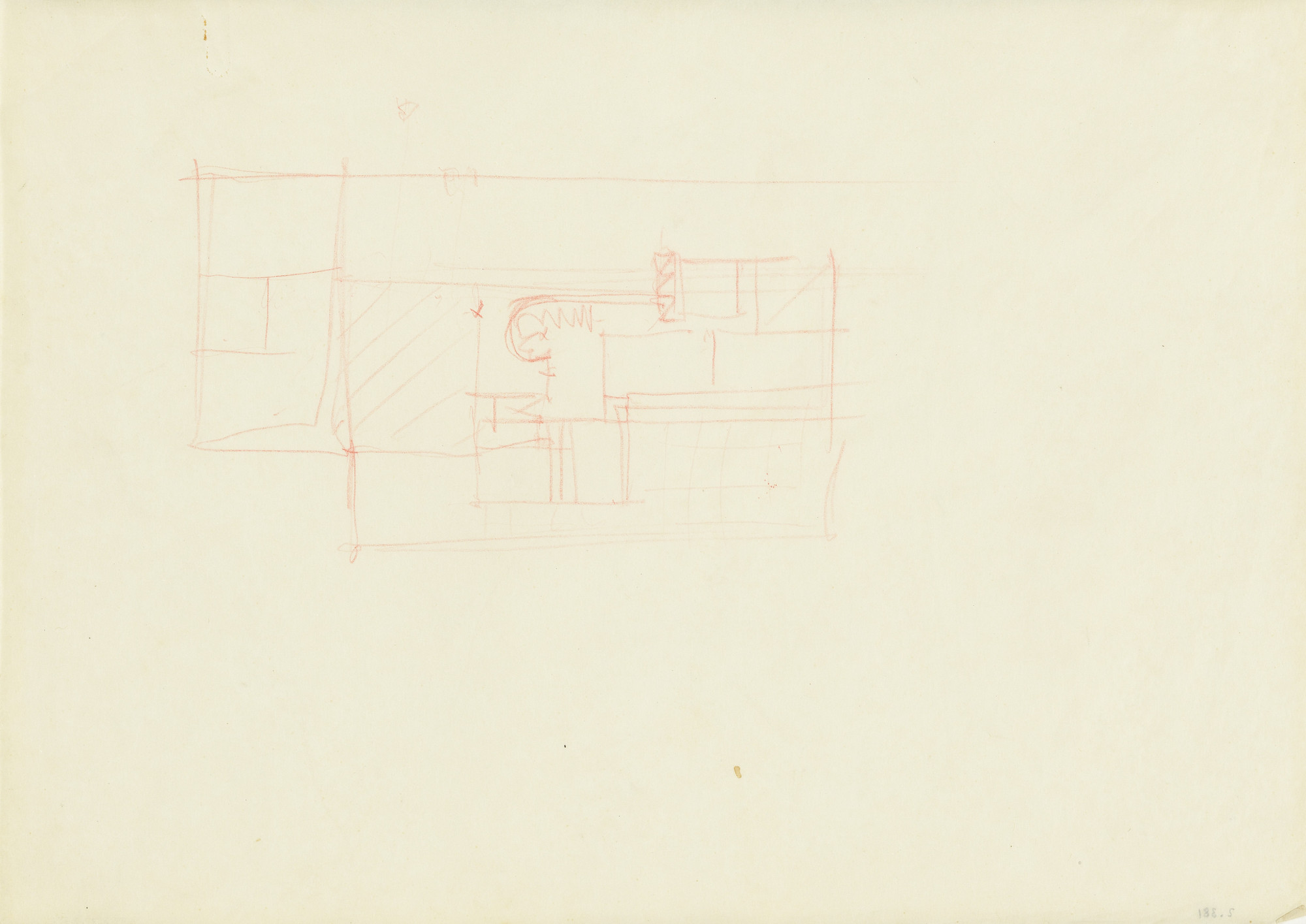 Ludwig Mies van der Rohe. Tugendhat House, Brno, Czech Republic, Upper-floor plan, Sketch. 1928-1930