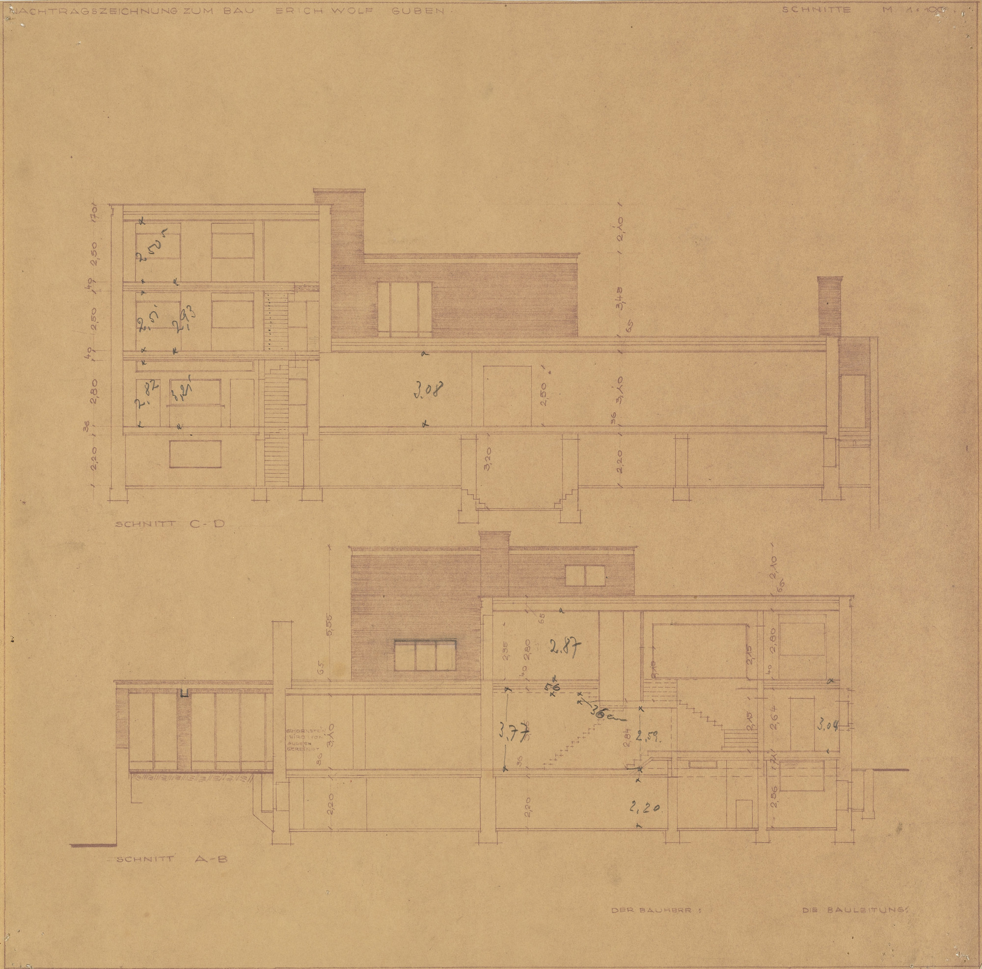 Ludwig Mies van der Rohe. Wolf House, Gubin, Poland, Two sections. 1925-1927