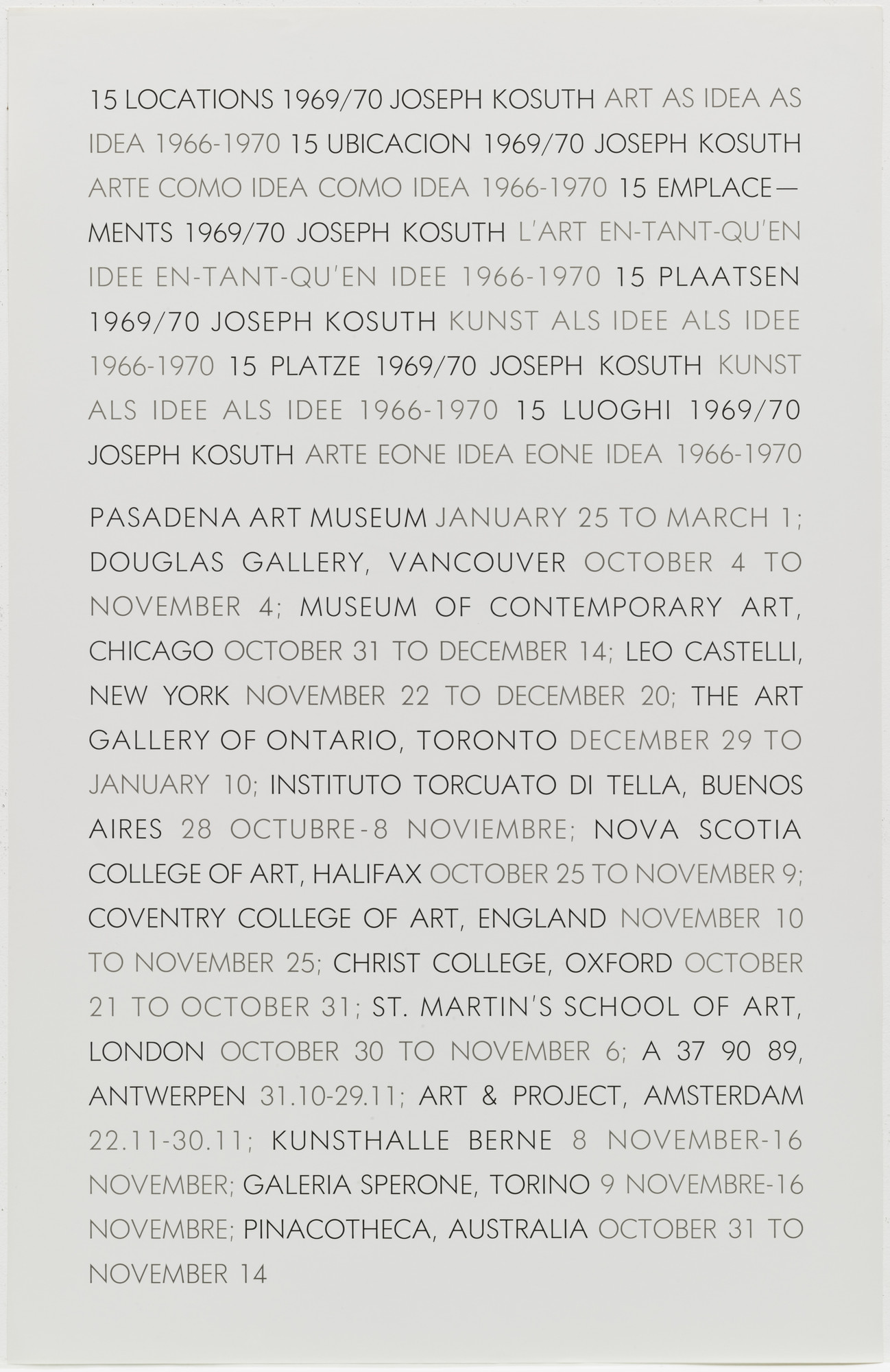 Joseph Kosuth. 15 Locations. 1969-70