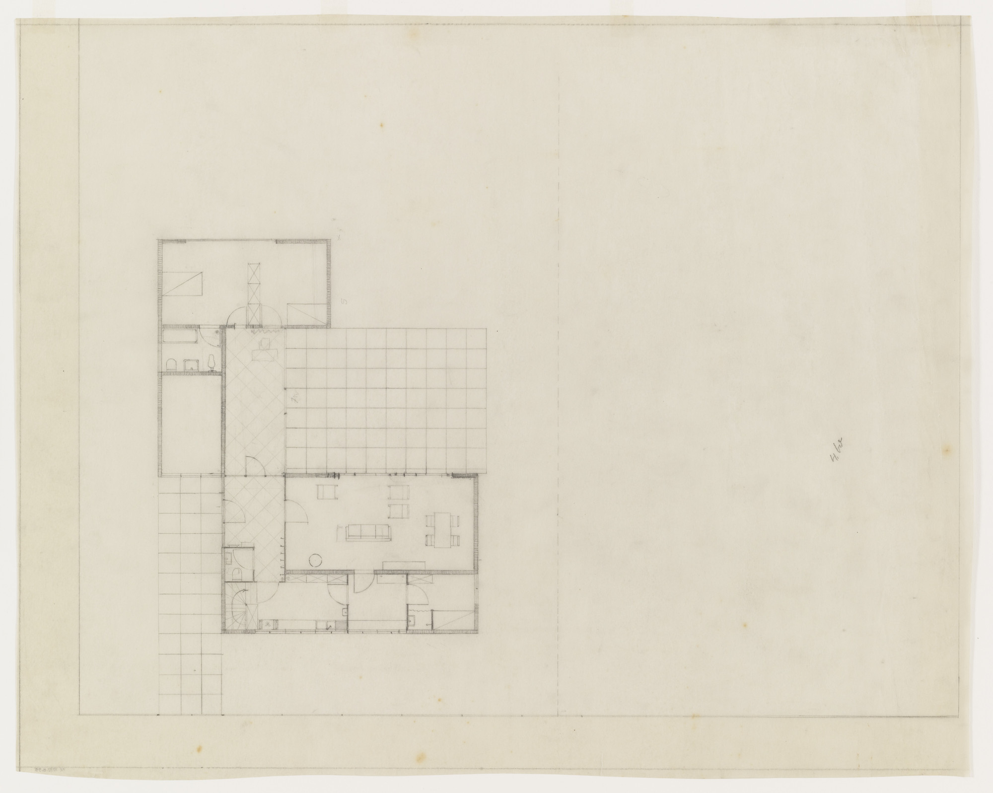 Ludwig Mies van der Rohe. Lemke House, Berlin, Germany, Floor plan ...