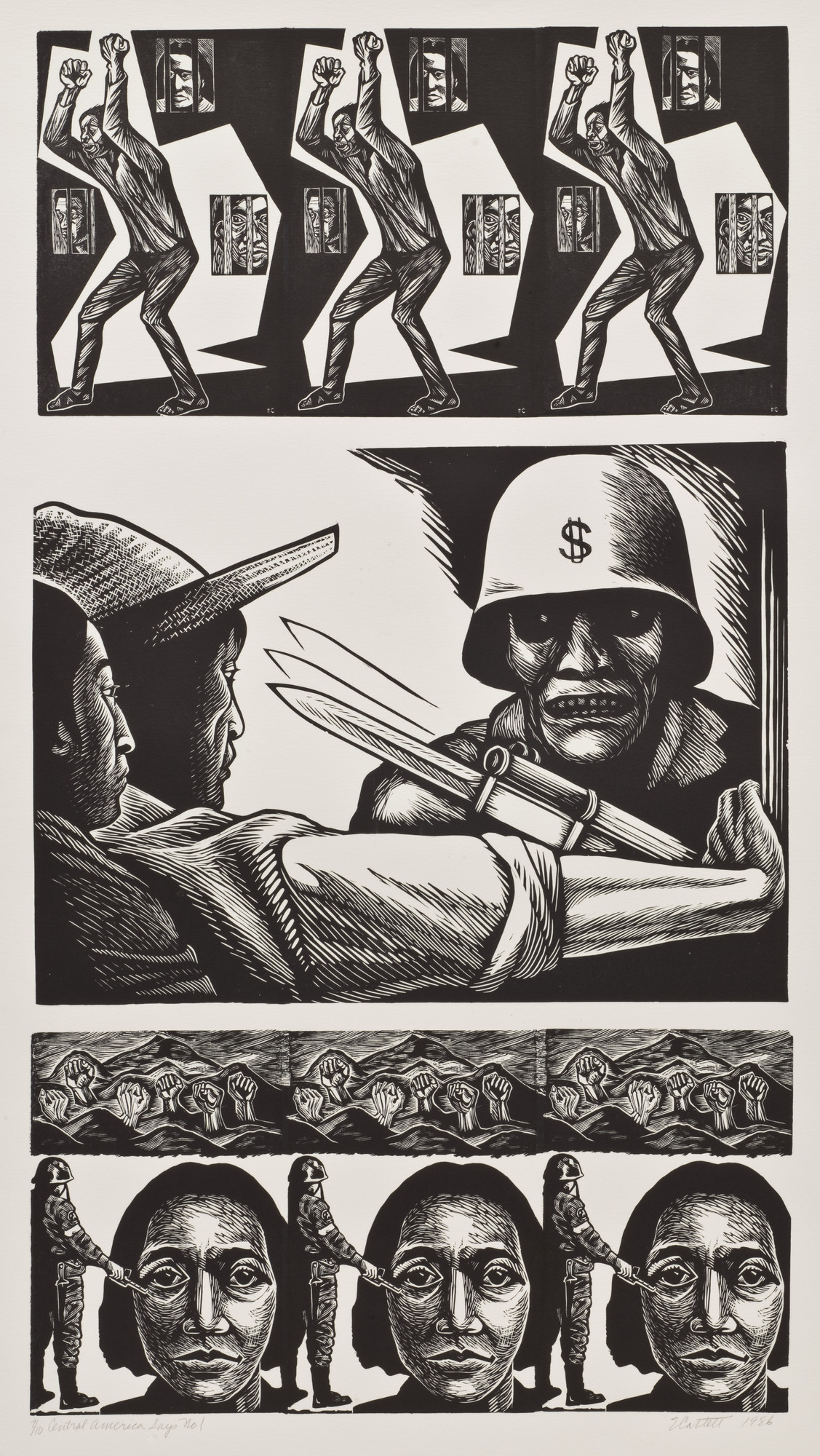Elizabeth Catlett. Central America Says No!. 1986