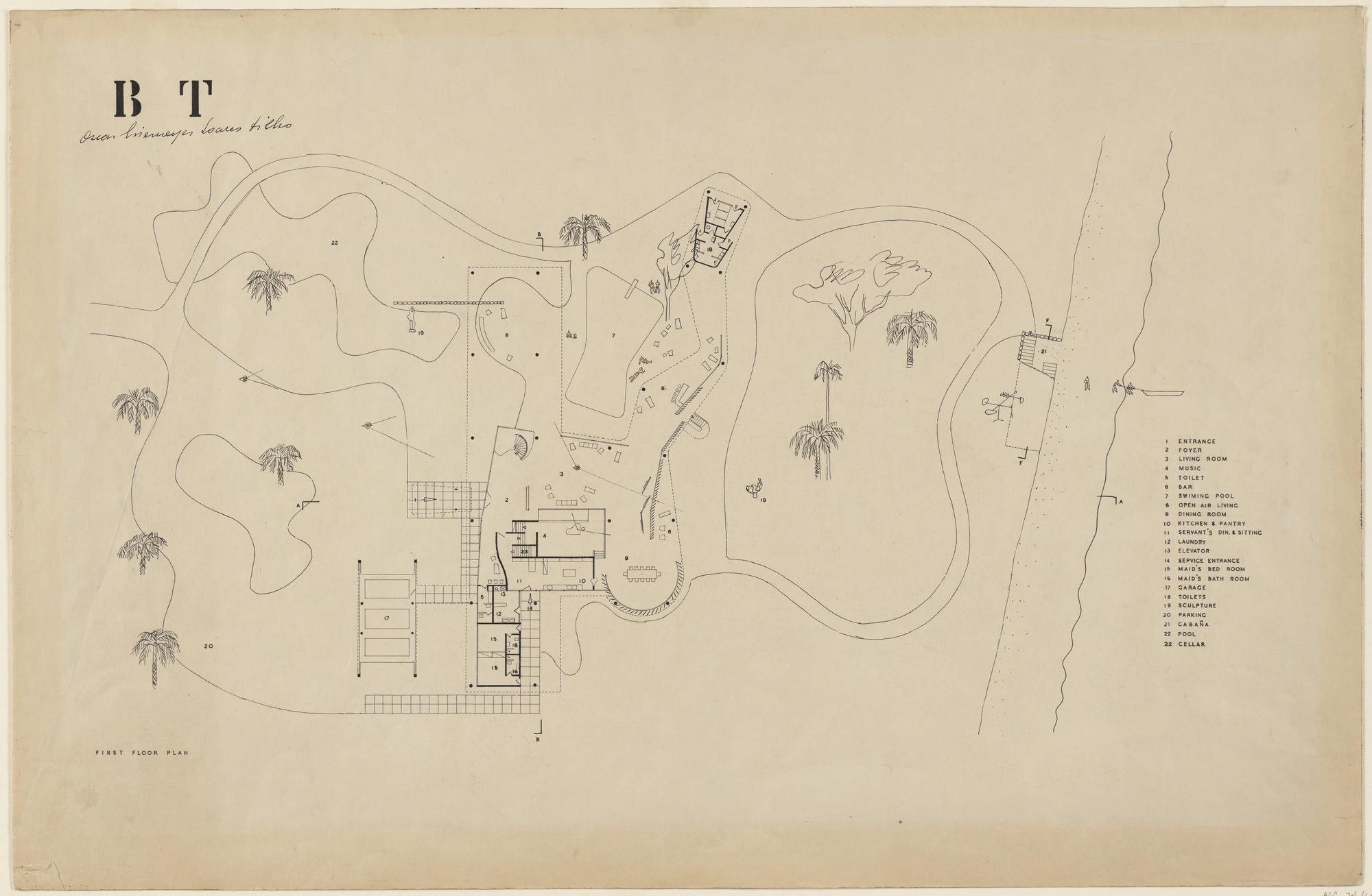 Oscar Niemeyer, Roberto Burle Marx. Beach House for Mr. and Mrs. Burton Tremaine, project, Santa Barbara, California (Plans of first floor and garden). 1948