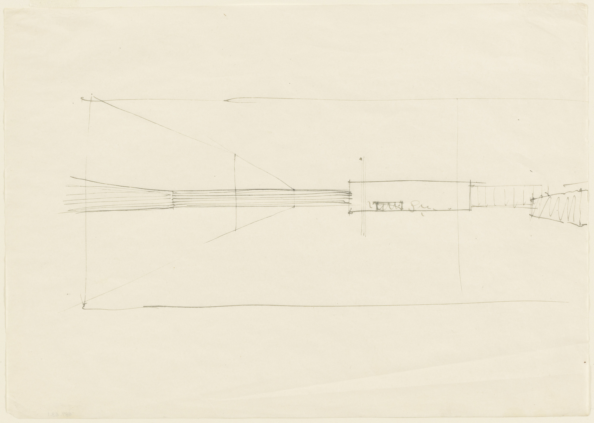 Ludwig Mies van der Rohe. Courthouse Interior:  Perspective Sketch. 1926-36