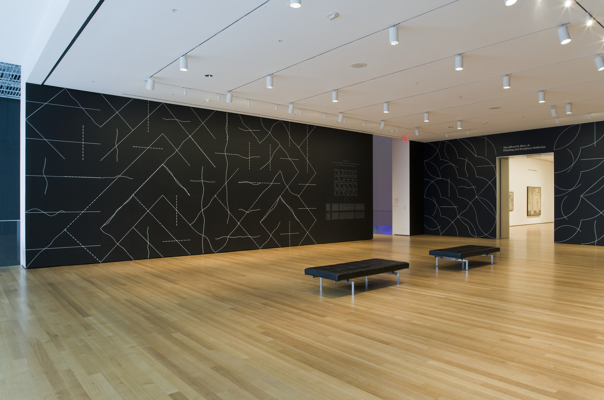 Sol LeWitt. Wall Drawing #260, On Black Walls, All Two-Part Combinations of White Arcs from Corners and Sides, and White Straight, Not-Straight, and Broken Lines. 1975